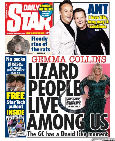 Daily Star Newspaper Front Page (UK) for 27 February 2020