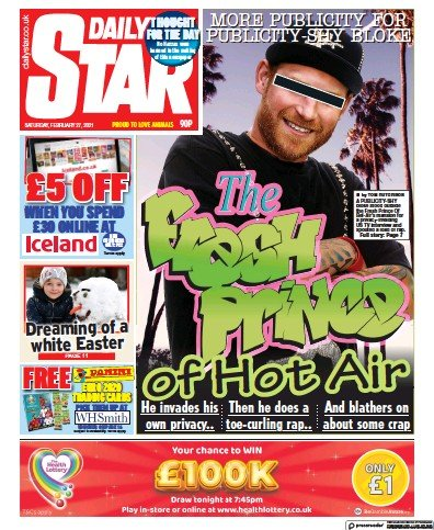 Daily Star Newspaper Front Page (UK) for 27 February 2021