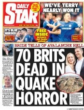 Daily Star (UK) Newspaper Front Page for 27 April 2015