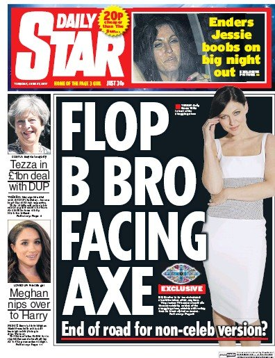 Daily Star Newspaper Front Page (UK) for 27 June 2017