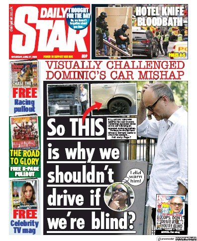 Daily Star Newspaper Front Page (UK) for 27 June 2020