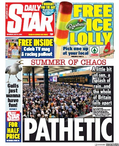 Daily Star Newspaper Front Page (UK) for 27 July 2019
