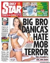 Daily Star Newspaper Front Page (UK) for 27 August 2012