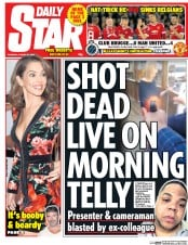 Daily Star (UK) Newspaper Front Page for 27 August 2015