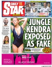 Daily Star (UK) Newspaper Front Page for 28 November 2014
