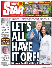 Daily Star (UK) Newspaper Front Page for 28 November 2017