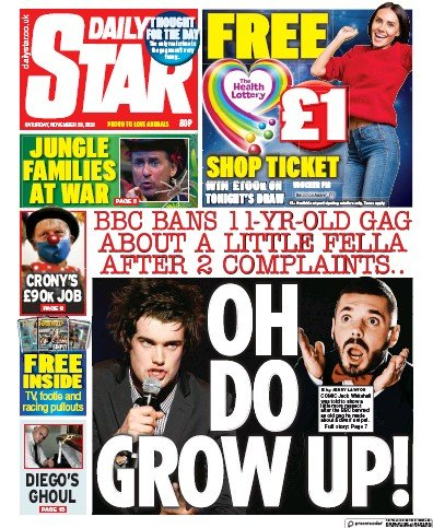 Daily Star Newspaper Front Page (UK) for 28 November 2020