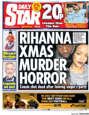 Daily Star (UK) Newspaper Front Page for 28 December 2017
