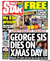 Daily Star (UK) Newspaper Front Page for 28 December 2019