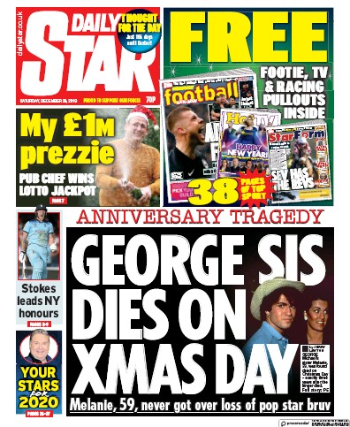 Daily Star Newspaper Front Page (UK) for 28 December 2019