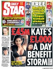 Daily Star (UK) Newspaper Front Page for 28 January 2015