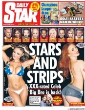 Daily Star (UK) Newspaper Front Page for 28 August 2015