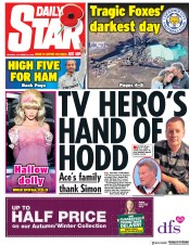 Daily Star (UK) Newspaper Front Page for 29 October 2018