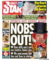 Daily Star (UK) Newspaper Front Page for 29 October 2020