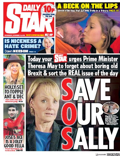 Daily Star Newspaper Front Page (UK) for 29 November 2018