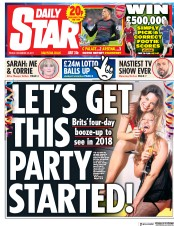 Daily Star (UK) Newspaper Front Page for 29 December 2017