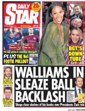 Daily Star (UK) Newspaper Front Page for 29 January 2018
