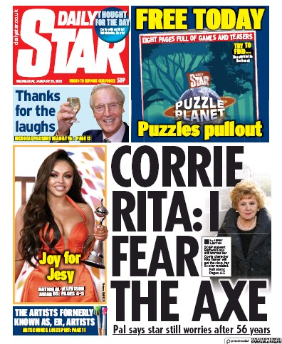 Daily Star Newspaper Front Page (UK) for 29 January 2020