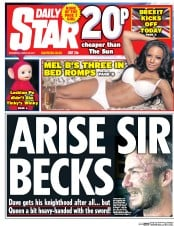 Daily Star (UK) Newspaper Front Page for 29 March 2017