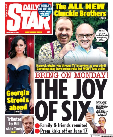 Daily Star Newspaper Front Page (UK) for 29 May 2020