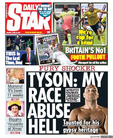 Daily Star Newspaper Front Page (UK) for 29 June 2020