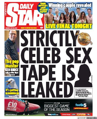 Daily Star Newspaper Front Page (UK) for 29 July 2019