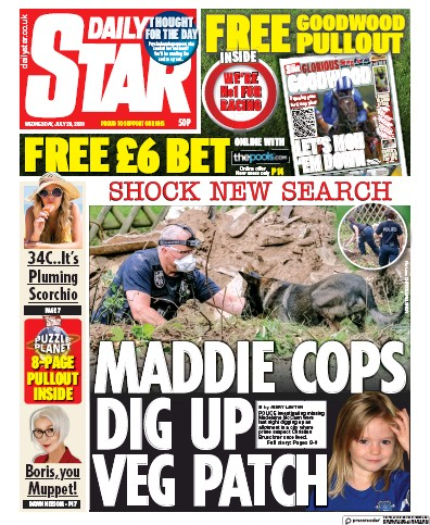 Daily Star Newspaper Front Page (UK) for 29 July 2020