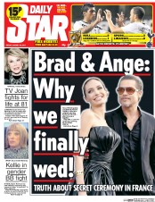 Daily Star (UK) Newspaper Front Page for 29 August 2014