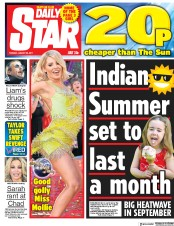Daily Star (UK) Newspaper Front Page for 29 August 2017