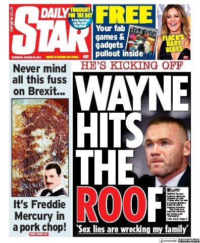Daily Star Newspaper Front Page (UK) for 29 August 2019