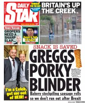Daily Star (UK) Newspaper Front Page for 2 October 2019