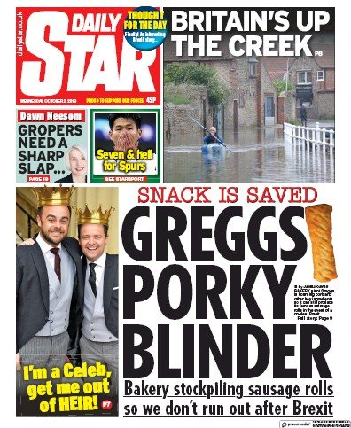 Daily Star Newspaper Front Page (UK) for 2 October 2019