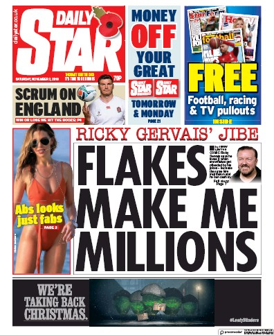 Daily Star Newspaper Front Page (UK) for 2 November 2019