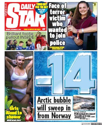Daily Star Newspaper Front Page (UK) for 2 December 2019