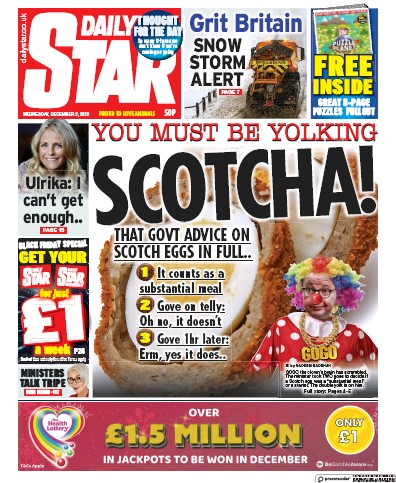 Daily Star Newspaper Front Page (UK) for 2 December 2020
