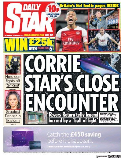 Daily Star Newspaper Front Page (UK) for 2 January 2019