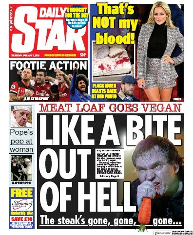 Daily Star Newspaper Front Page (UK) for 2 January 2020