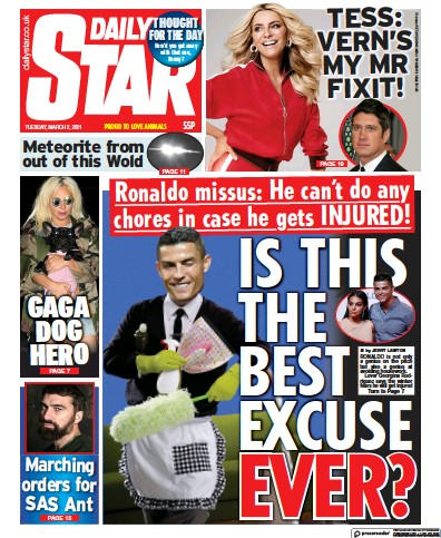 Daily Star Newspaper Front Page (UK) for 2 March 2021