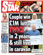 Daily Star (UK) Newspaper Front Page for 2 April 2015