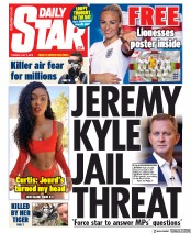 Daily Star (UK) Newspaper Front Page for 2 July 2019