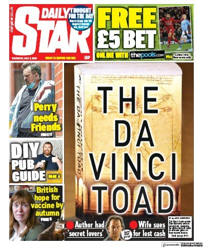Daily Star Newspaper Front Page (UK) for 2 July 2020