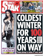 Daily Star (UK) Newspaper Front Page for 30 October 2014
