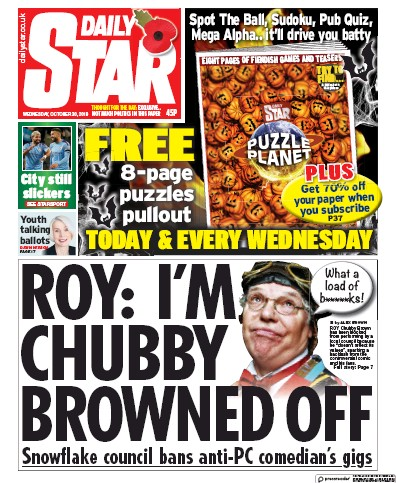 Daily Star Newspaper Front Page (UK) for 30 October 2019