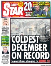 Daily Star (UK) Newspaper Front Page for 30 November 2017