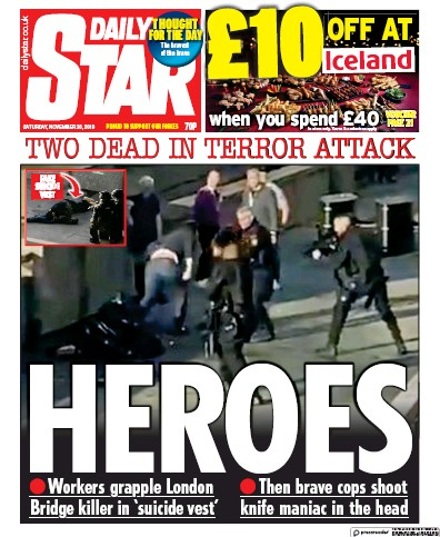 Daily Star Newspaper Front Page (UK) for 30 November 2019