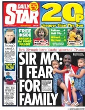 Daily Star (UK) Newspaper Front Page for 30 January 2017