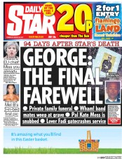 Daily Star (UK) Newspaper Front Page for 30 March 2017