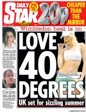 Daily Star (UK) Newspaper Front Page for 30 June 2015