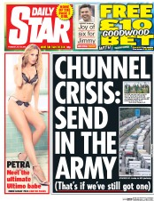 Daily Star (UK) Newspaper Front Page for 30 July 2015
