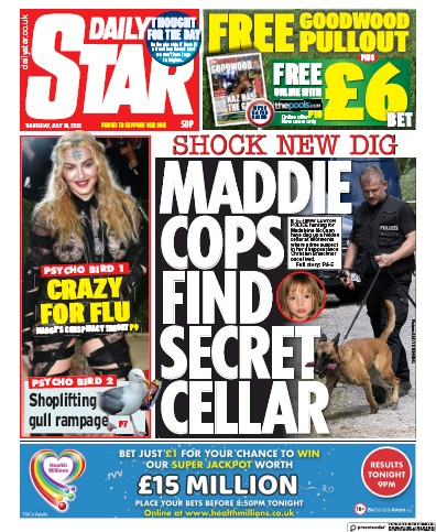 Daily Star Newspaper Front Page (UK) for 30 July 2020